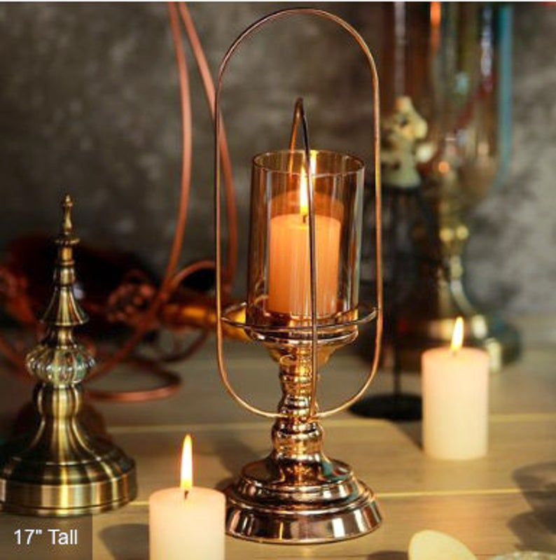 New Gold Hurricane Candle Votive Holder Designs Etsy Glass Candle Holders Centerpiece Glass Hurricane Candle Holder Candleholder Centerpieces