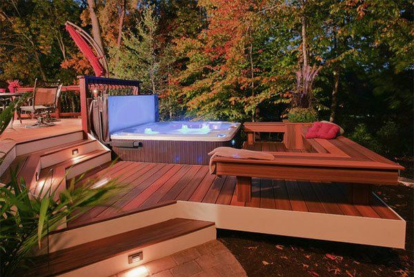 terrasse en bois ou composite id es merveilleuses pour l 39 ext rieur spa hot. Black Bedroom Furniture Sets. Home Design Ideas