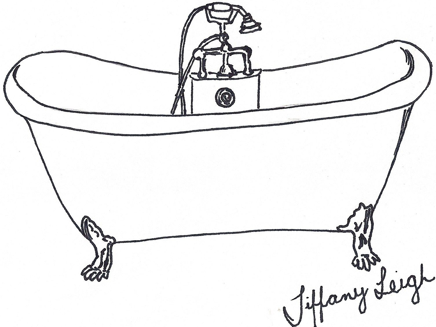 Black Line Drawing Of A Claw Foot Tub