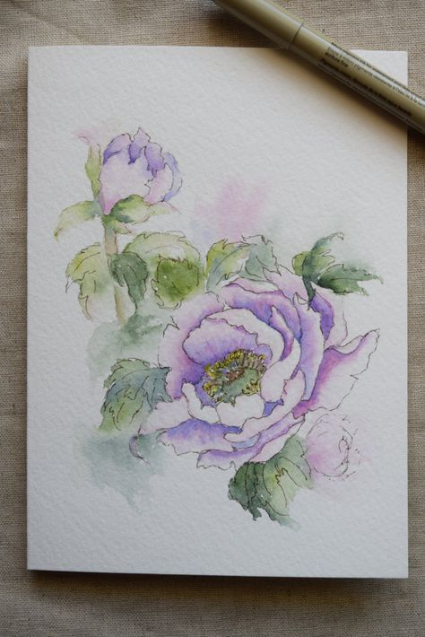 Purple Peony Watercolor Painted Card Original Or By Sunsetpeonies
