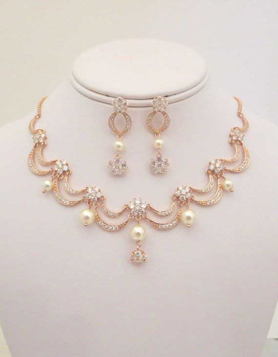 c3c87aa66a945 Rose Gold Bridal necklace, Rose Gold Bridal earrings, Wedding ...
