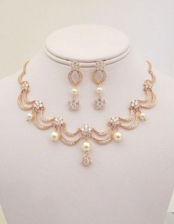 649451442bfda Rose Gold Bridal necklace, Rose Gold Bridal earrings, Wedding ...