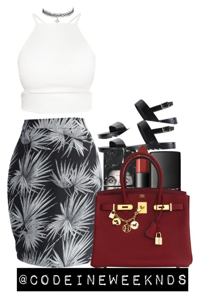 """""""8:31:15"""" by codeineweeknds ❤ liked on Polyvore featuring Chicwish, NARS Cosmetics and Hermès"""