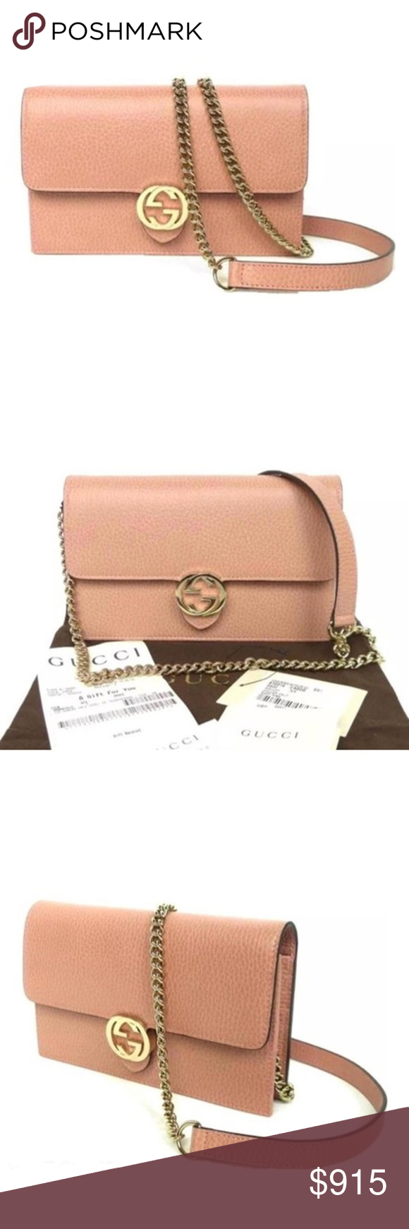 54256531928 Gucci Chain Wallet Icon Gg Pink Leather Cross Body Authentic GUCCI fabulous  instantly recognizable dusty pink
