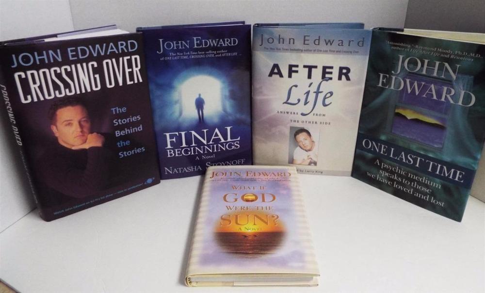 john edwards psychic medium lot of 5 hard covered books crossing