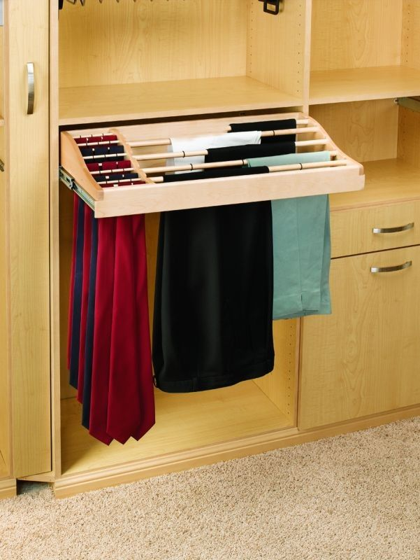 Pants And Tie Rack Holds 12 Pairs Of Pants And Over 30 Ties. Full Extension  Slides And Removable Pants Rods.
