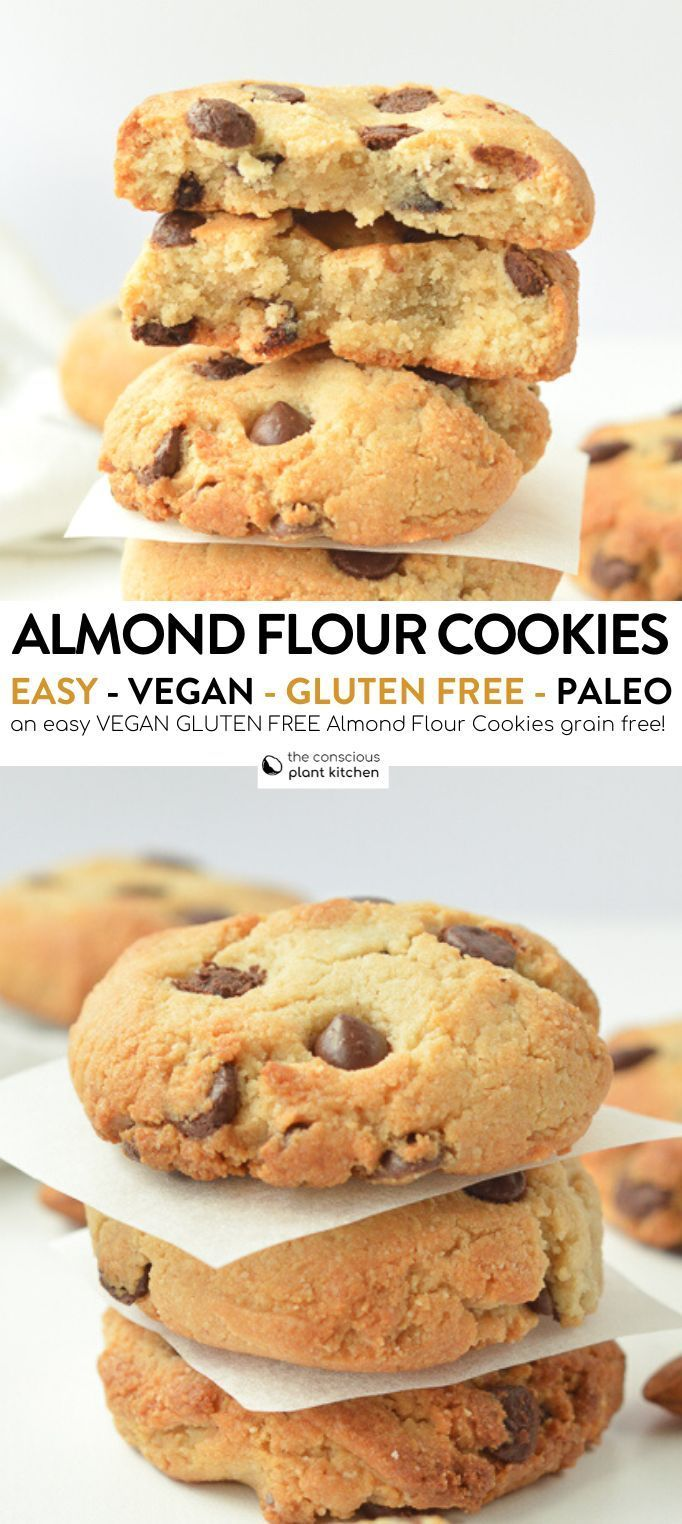 Almond flour chocolate chip cookies vegan - The Conscious Plant Kitchen