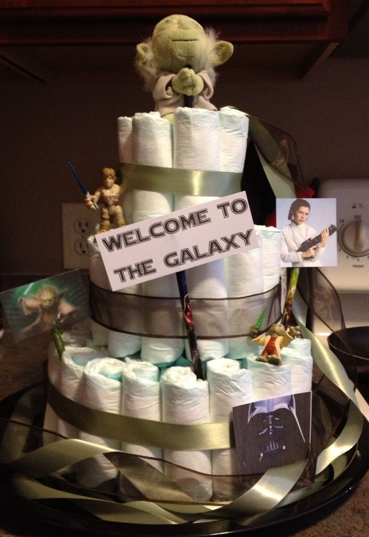 Star Wars diaper cake switch it out to make it Hitchhikers Guide