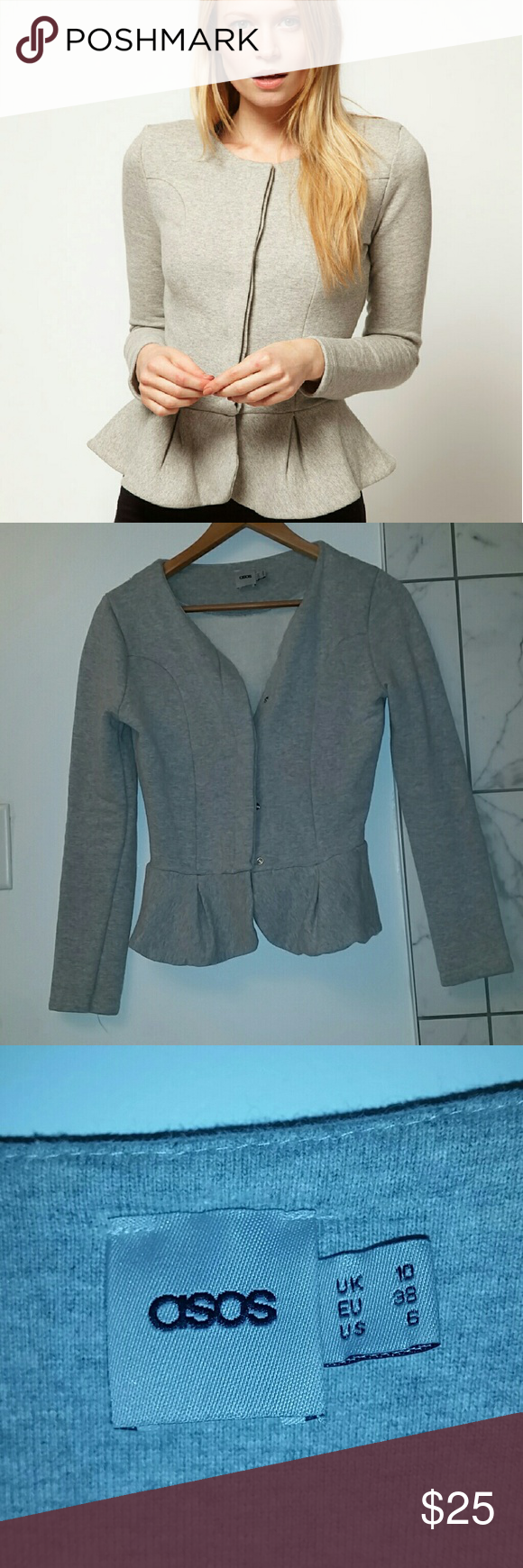 ASOS Grey Peplum Cardigan Sweater Pre-owned peplum cardigan that can be worn open or buttoned up. Runs small. ASOS Sweaters Cardigans