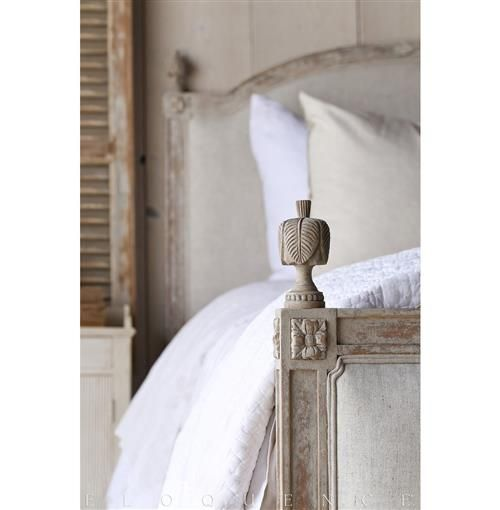 Detail of Dauphine bed. Swedish decor inspiration, French and Gustavian Design Style from Eloquence. #swedish #interiordesign #frenchcountry #gustavian #nordic #decoratingideas #whitedecor #eloquence #furniture