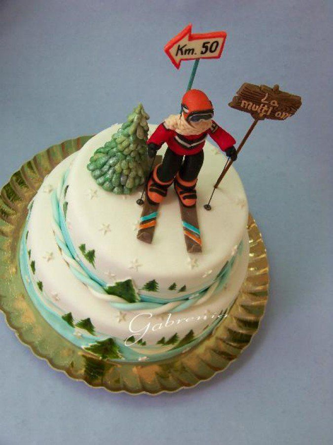 This Cake Was Create To 50Th Birthday Anniversary To A Skiing Man