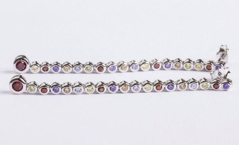 Sterling Silver Multi Colored Cubic Zirconia Dangle ...