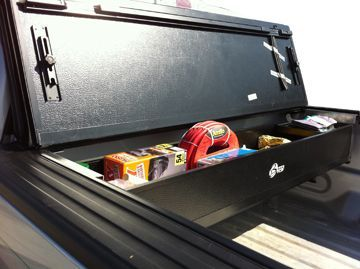 #Built-in #Utility - Securing cargo in your truck doesn't necessarily require full bed covers. This built-in tool box is a perfect solution to safely lock away tools while still keeping the truck's bed open for other needs.