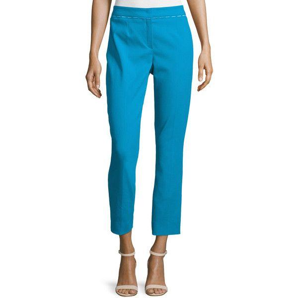 Escada Mid-Rise Slim-Leg Cropped Pants ($270) ❤ liked on Polyvore featuring pants, capris, lagoon, slim fit pants, slim leg pants, slim trousers, cropped pants and escada