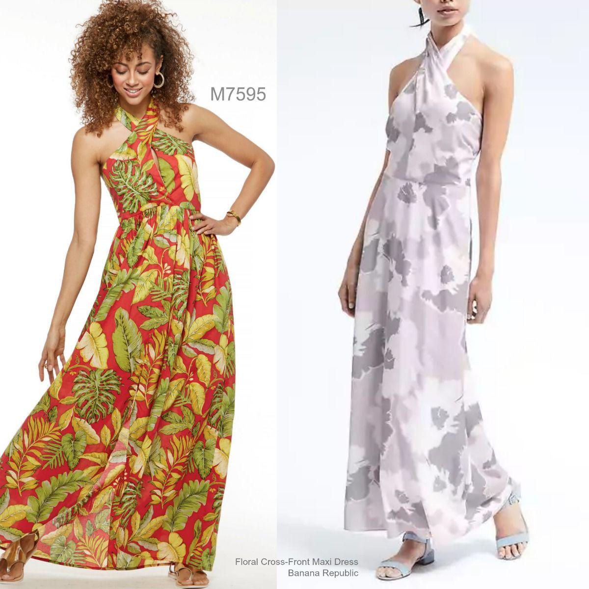 Sew The Look Mccall S M7595 Halter Cross Front Maxidress Sewing Pattern Beachy Dresses Diy Dress Dresses