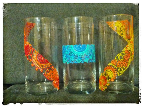 Henna Glass Vase Candle Holder Holdiay Decor  by RusticNids