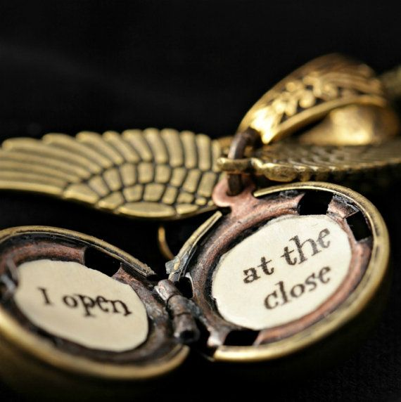"""I open at the close"" golden snitch locket!"