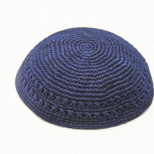 20 Centimeter Thick, Knitted Kippah in Blue with Open Work Pattern ...