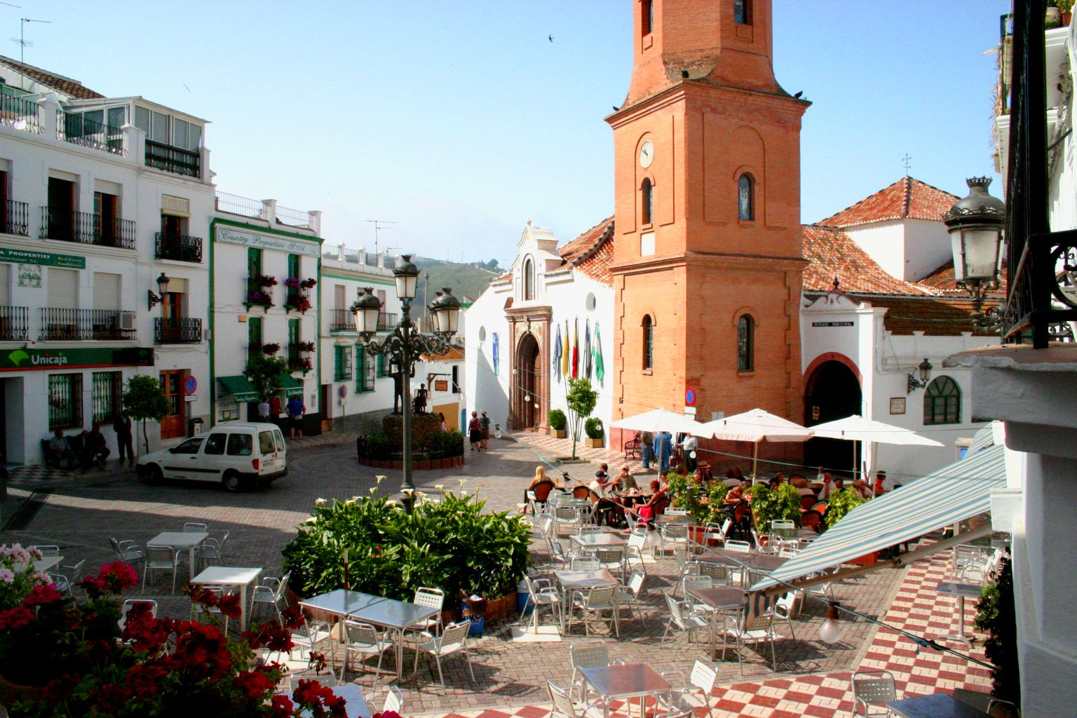 The market-square with the church of Competa, Andalucia, Spain