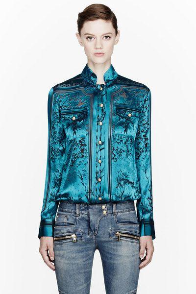 45885efd Aquamarine Velvet Burnout Blouse - Lyst | TRENDS | Pinterest ...