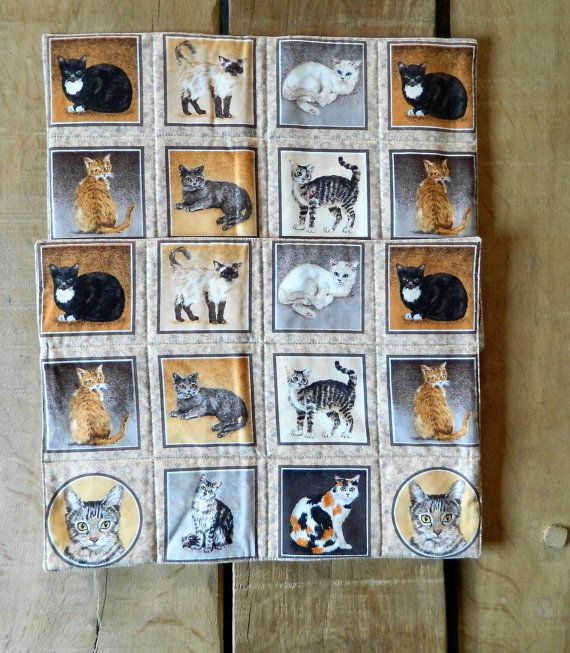 Cat Fabric Place Mats, Padded PlaceMats, Table Ware Mats, Two Quilted Gifts,