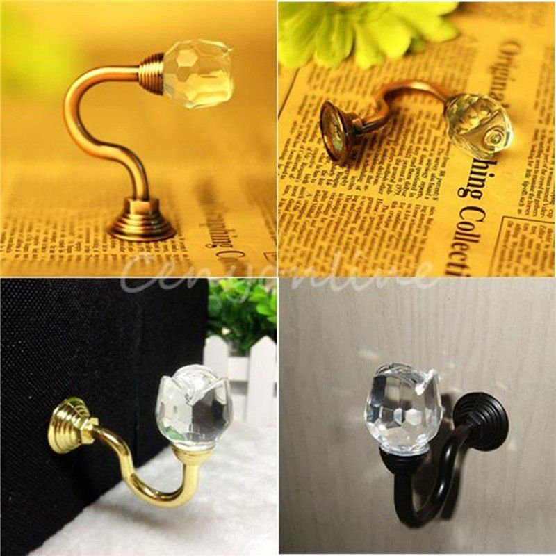 1 pcs Crystal Glass Wall Clothes Towl Tie Back Hook Curtain Tassel Hanger