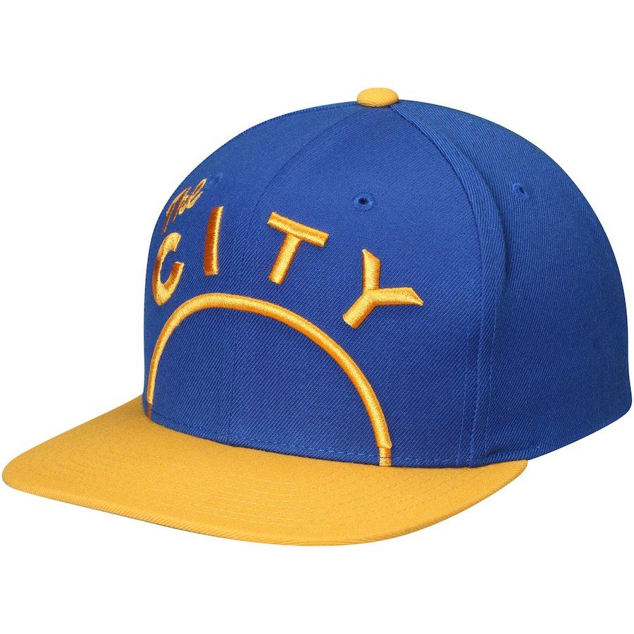 c318d52e358f2 Men s Golden State Warriors Mitchell   Ness Royal Gold Hardwood Classics Cropped  XL Logo Snapback Adjustable Hat