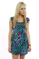 Teal/Purple Animal Print Open Back Dress