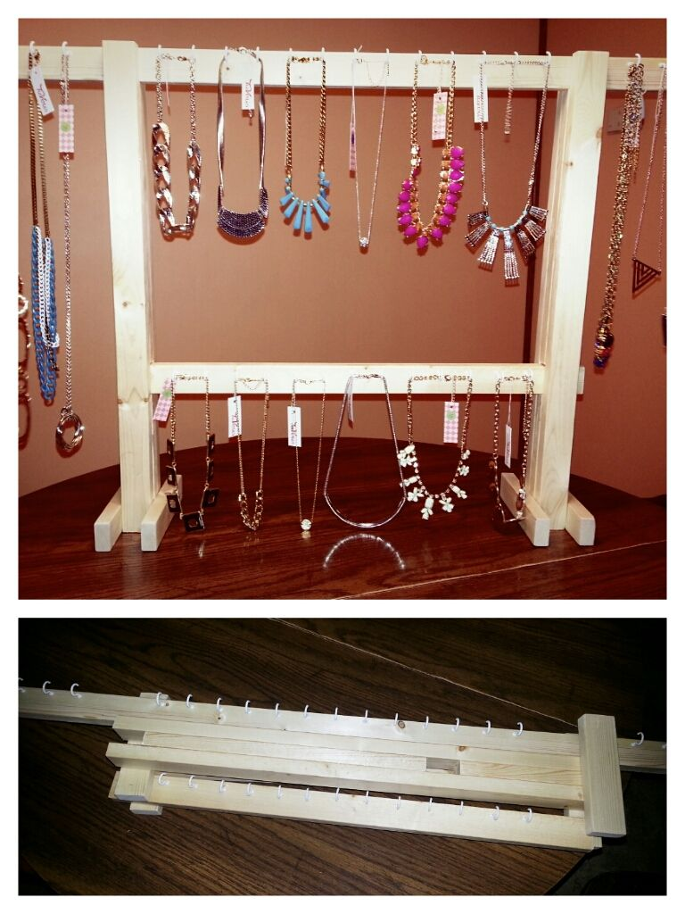 The rack my husband made for my TuVous jewelry set up at events. I still need to paint it, but I love it!
