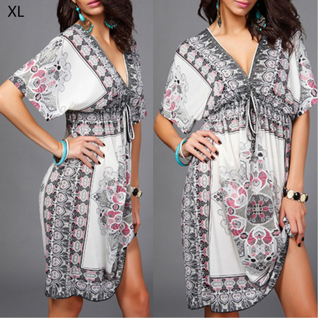 Click to buy ucuc boho style summer women dress sexy sundresses deep v
