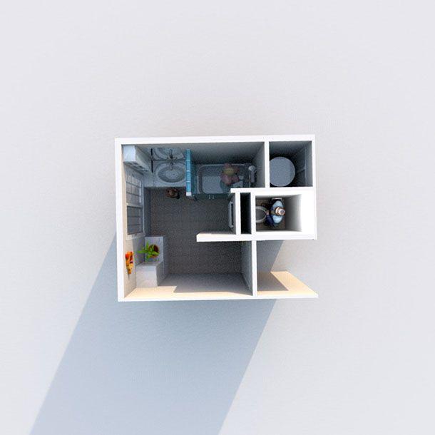 Aménagement du0027une salle de bain et de toilettes - Perspective vue de - Logiciel De Maison 3d