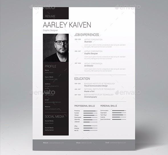 28 Minimal & Creative Resume Templates PSD, Word & AI