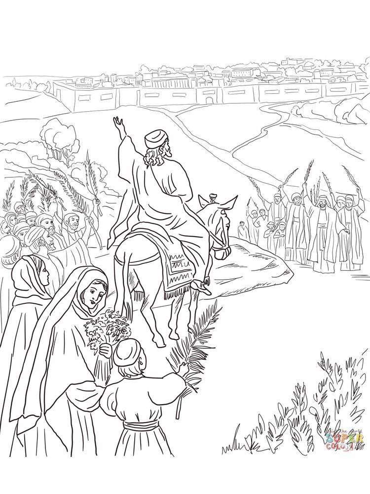 Palm Sunday Donkey Coloring Page Coloring pages, Palm
