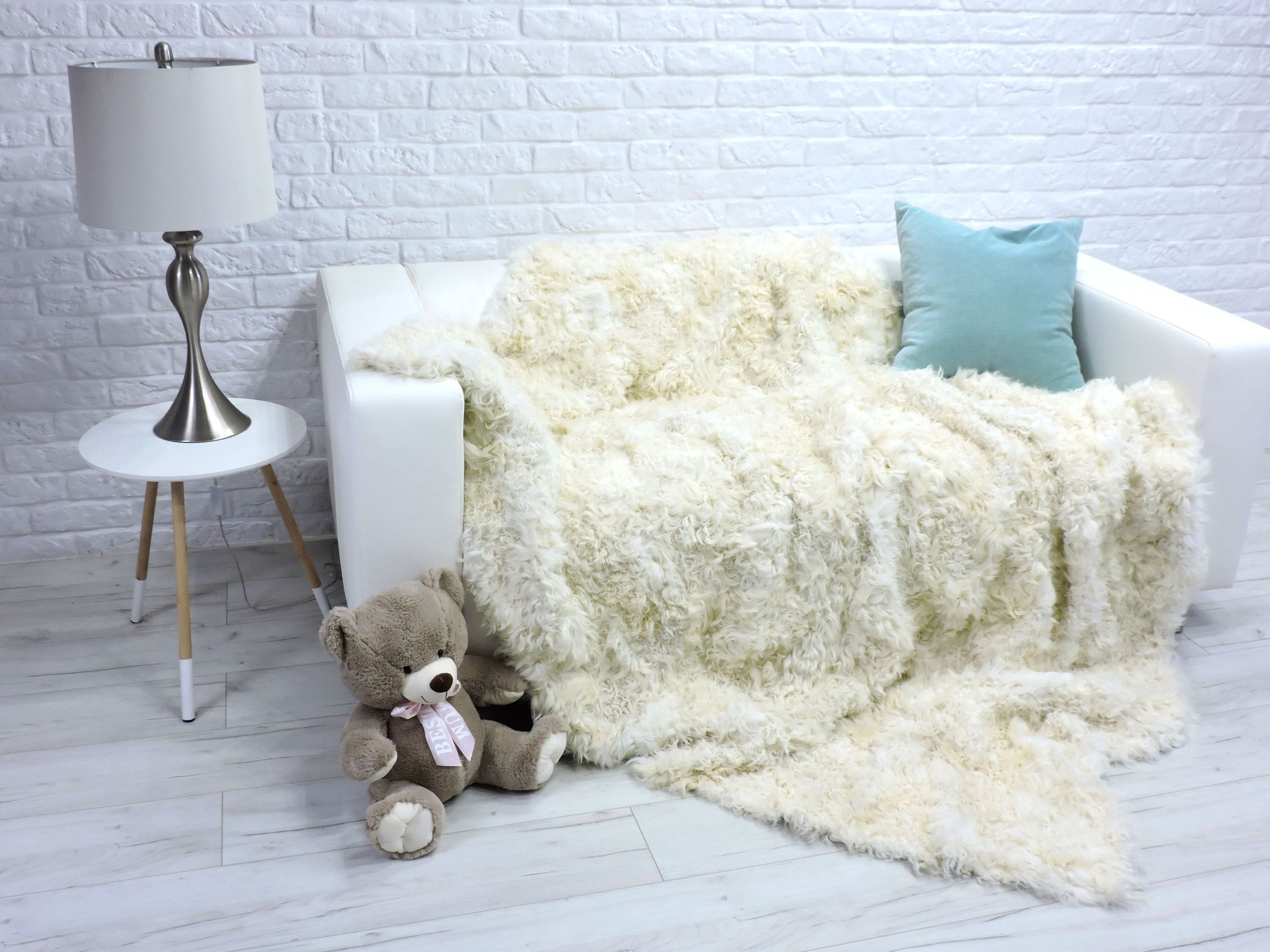 Luxury Toscana White Fur Blanket Fur Throw Sheepskin Sofa Cover Sofa Throw Genuine Leather Real Fur Rug Scandinavian Home Decor 286