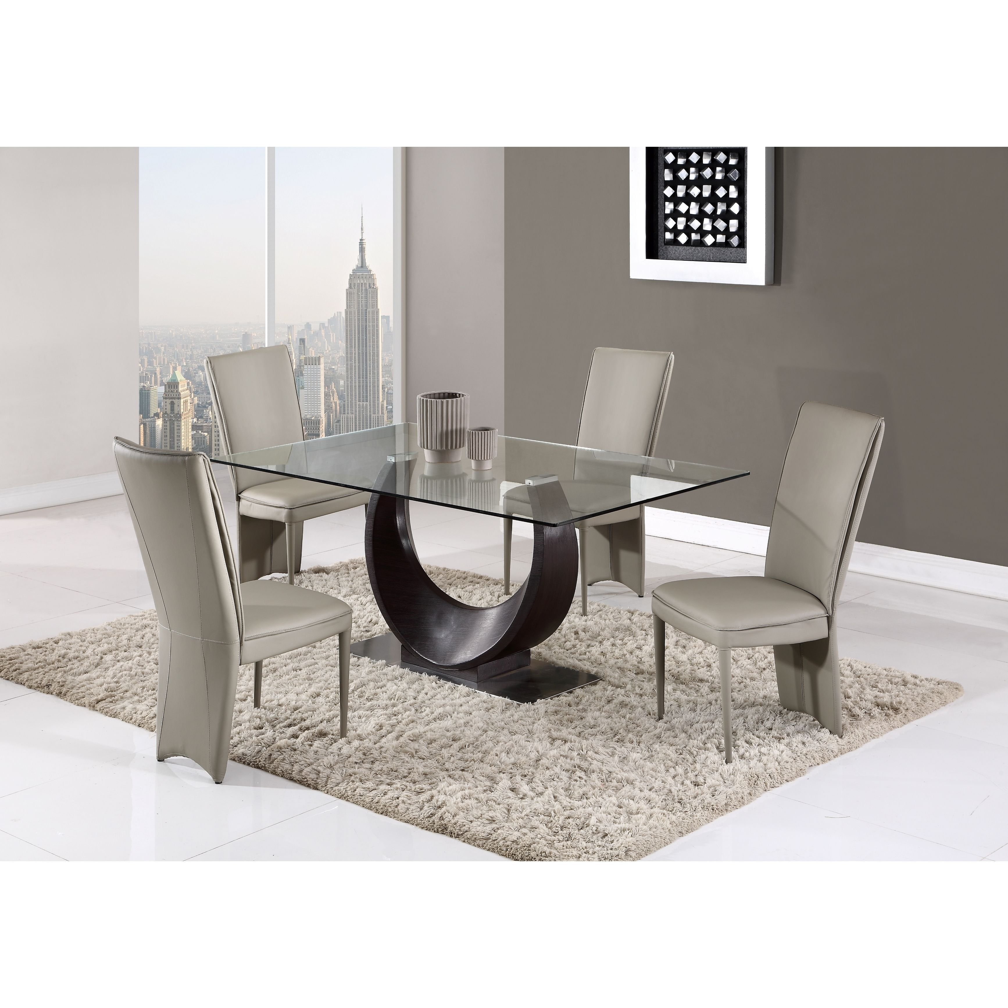 Global Furniture Wenge Glass And MDF Dining Table (Dining