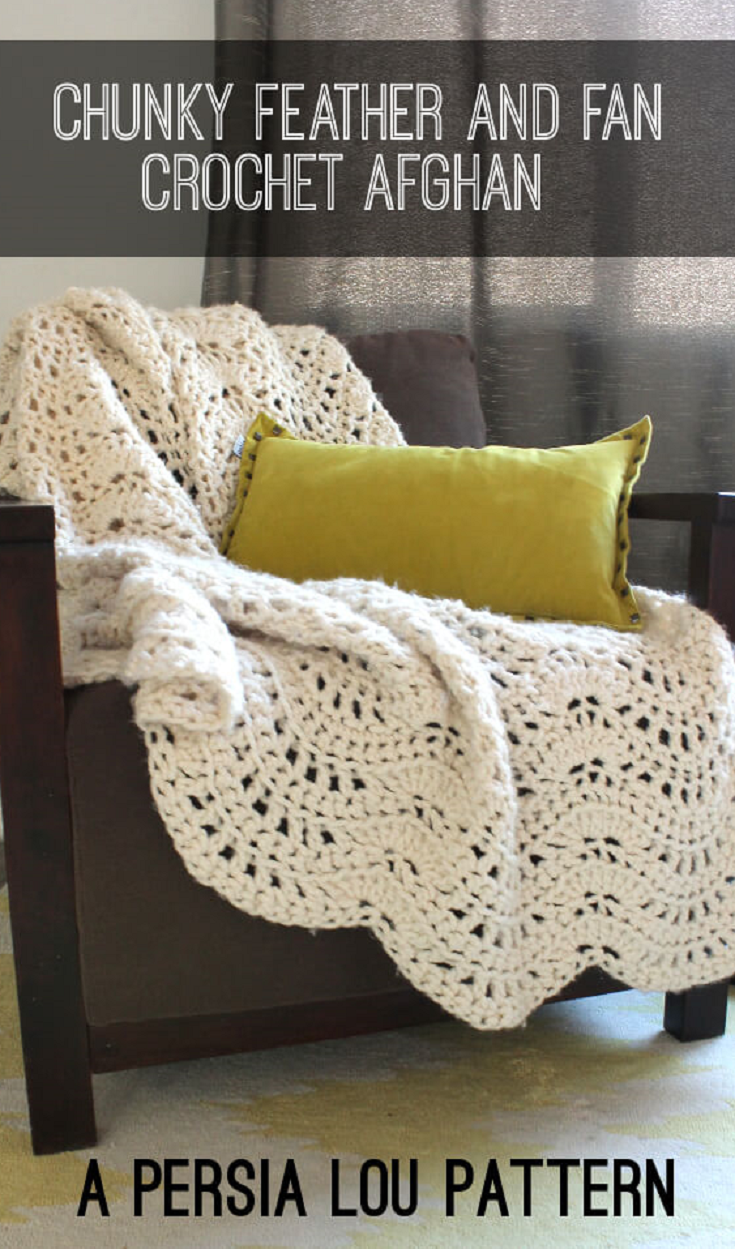 Chunky feather and fan crochet throw free pattern free pattern chunky feather and fan crochet throw free pattern bankloansurffo Image collections