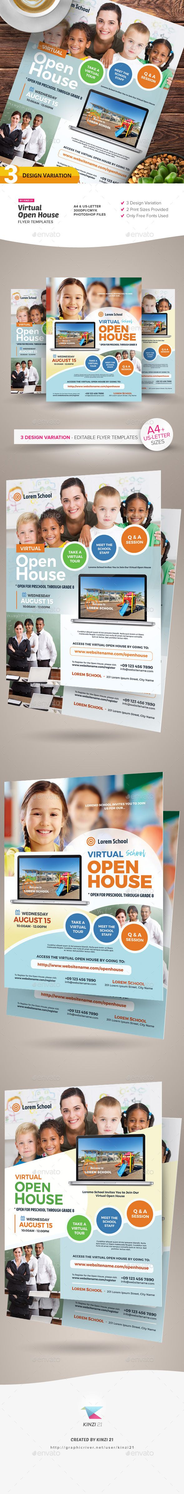 Virtual Open House Flyer Templates In 2020 Flyer Template Flyer Open House