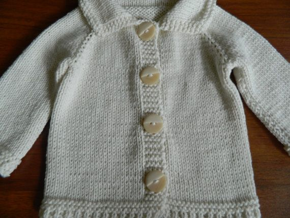 Knit Cream White Baby Cardigan Sweater Raglan Style by RodiAndSuzi