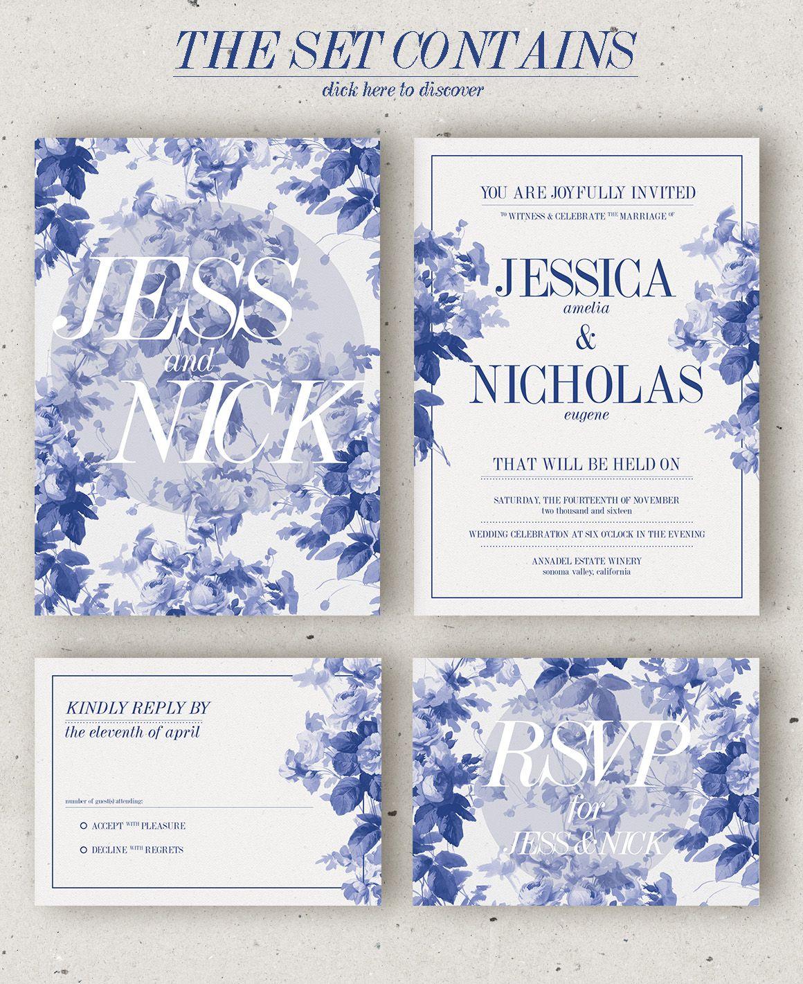 China Blue Wedding Invitation Template PSD #design Download:  Https://creativemarket.com/klapauciusco/352456?uu003dksioks