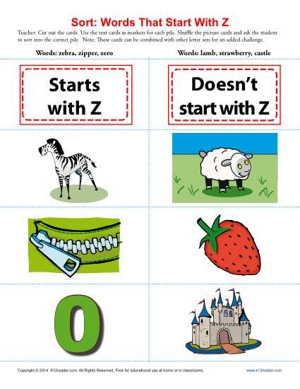 Words Starting With Letter Z  Worksheets Printable Worksheets