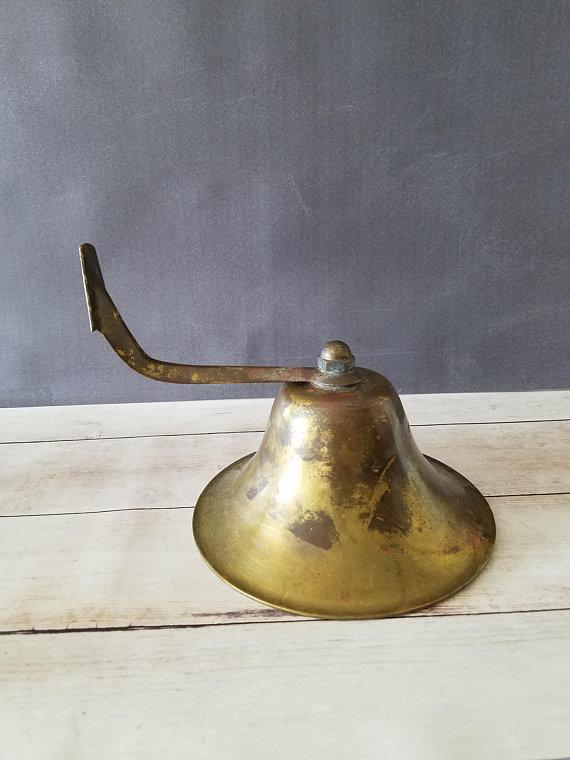 Large Brass Bell Wall Mounted Bell School Bell Dinner Bell