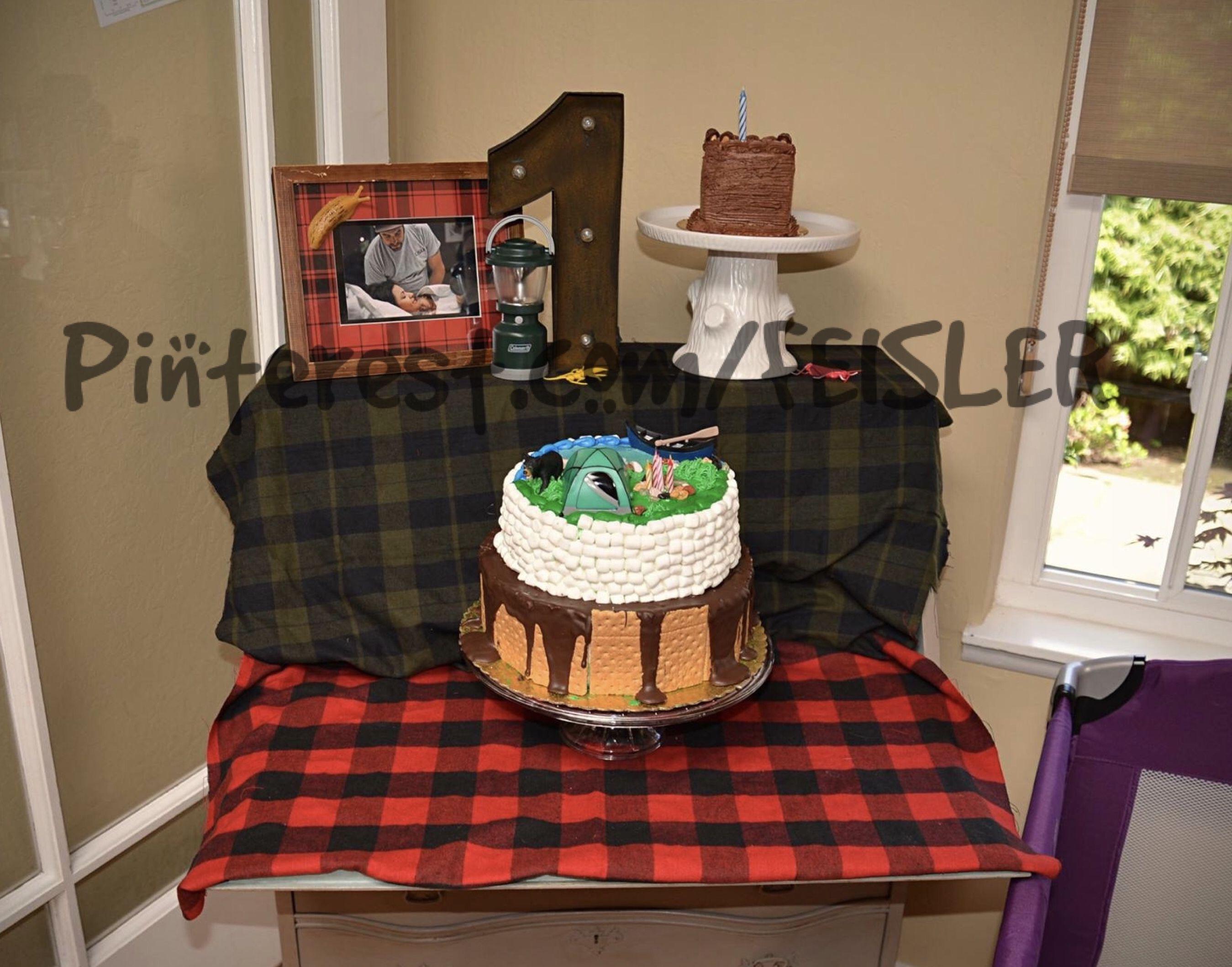 Camping Lumberjack Nature Woods Birthday Party Theme Decoration Idea Cake Display Table Smores Buffalo Plaid