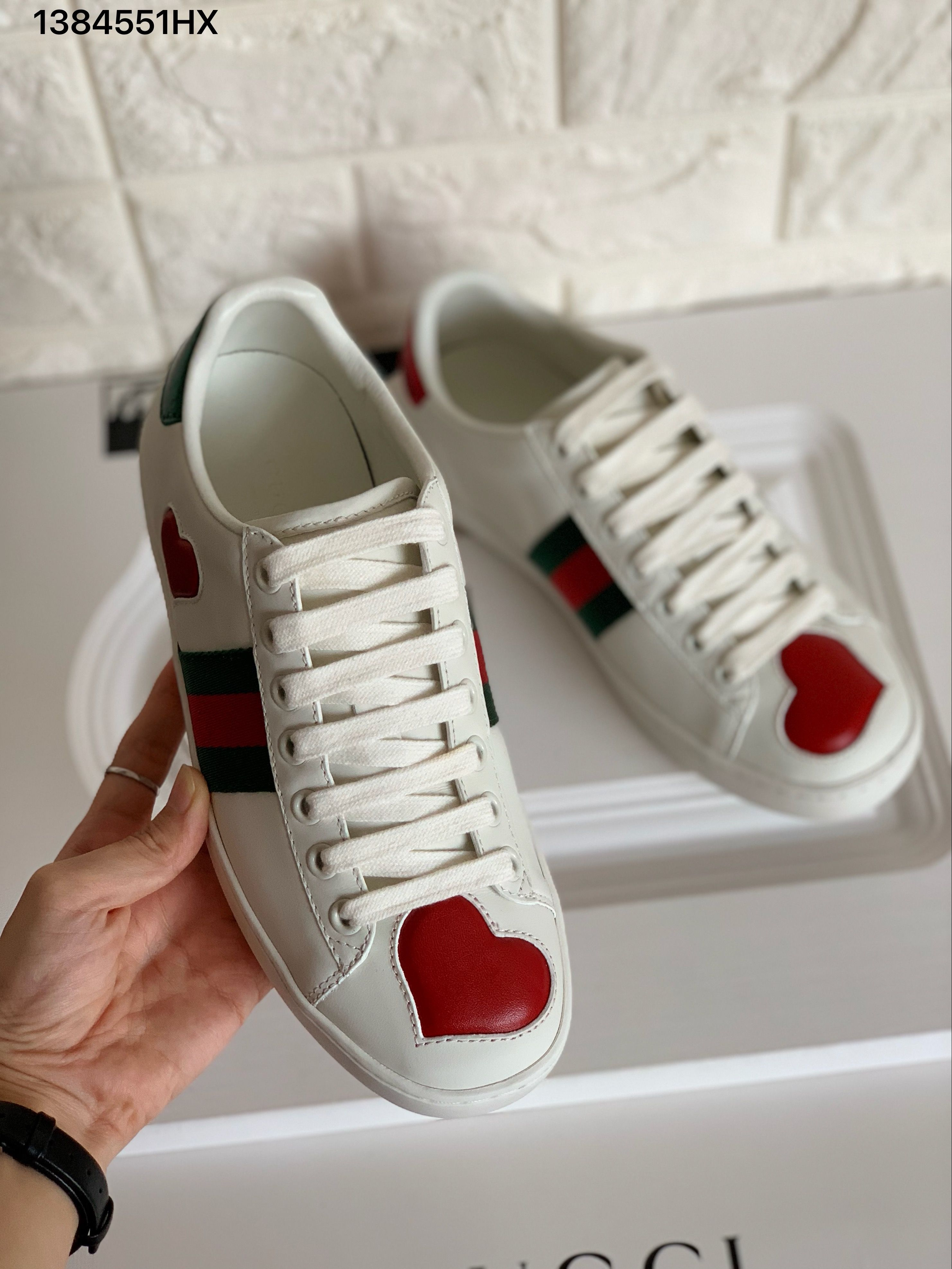 Gucci ace sneakers heart white leather