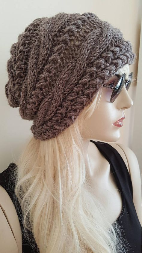 Slouchy Hut Slouchy Beanie Cable Hat Hand Knit Winter Women ...