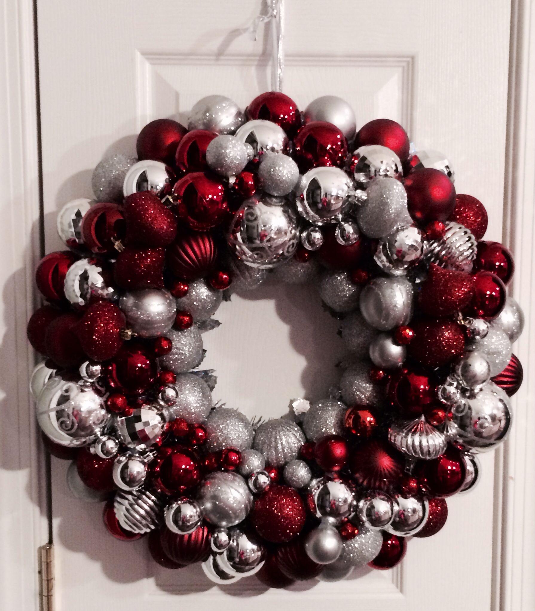 Silver & Burgundy Ornament Wreath