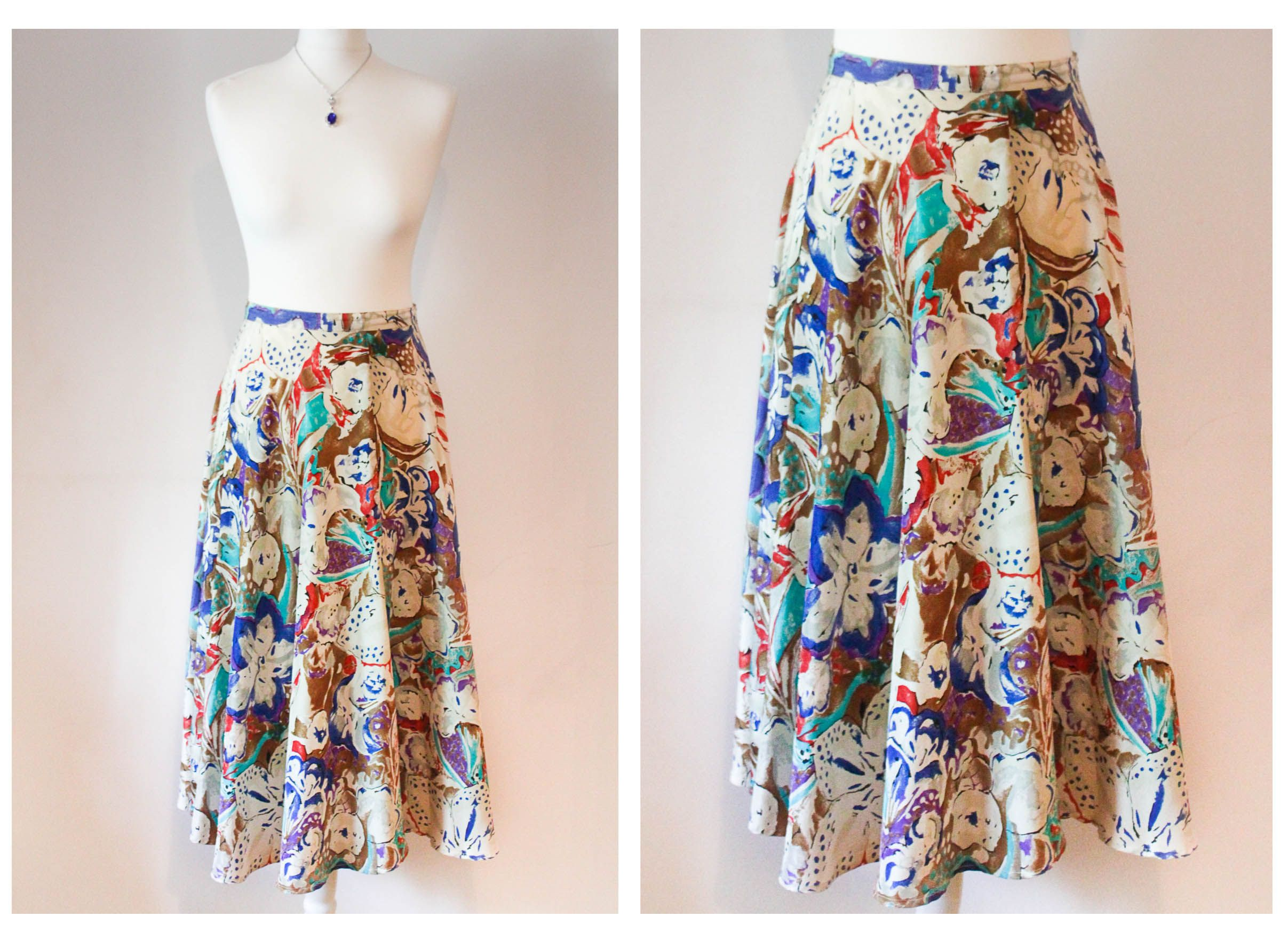 This is an eye-catching 100% silk skirt sourced directly from Rome, Italy.  Created in the 70's, this stunning vintage piece features a colourful, artistic design printed on soft silk fabric. Kept in excellent condition, this skirt also has a metal rear zipper/button closure. Italian vintage at its finest! https://www.etsy.com/listing/203246818/italian-vintage-silk-skirt