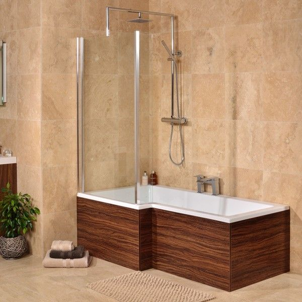 289.95 Walnut Left Hand L Shaped Square Shower Bath | Bathrooms ...
