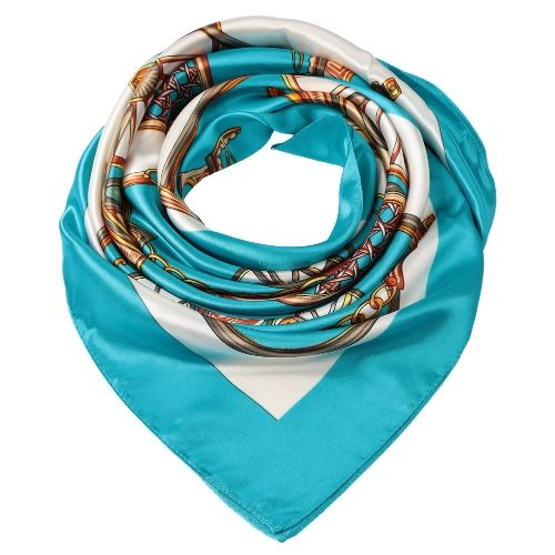 Women Square Scarf Sheen Satin Carriage Print Wraparound Scarf Scarves Thin Pashmina Oversize Kerchief