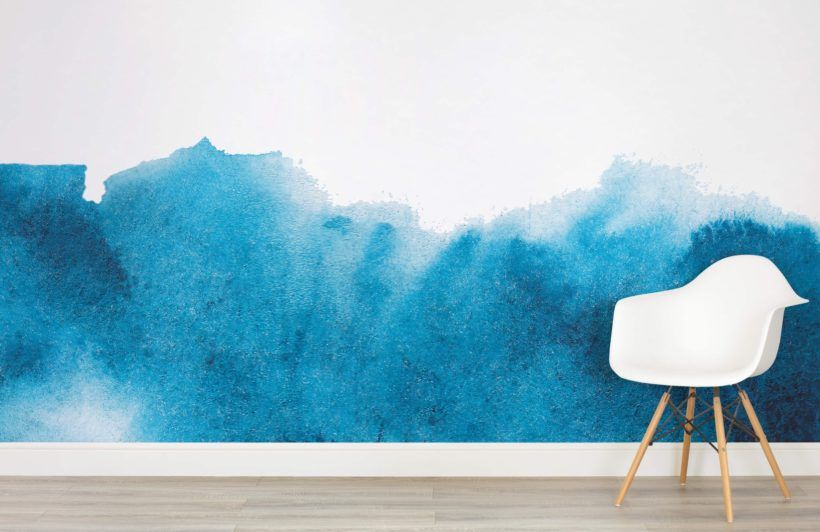 Blue Grunge Fading Paint Wallpaper Mural Painting Wallpaper
