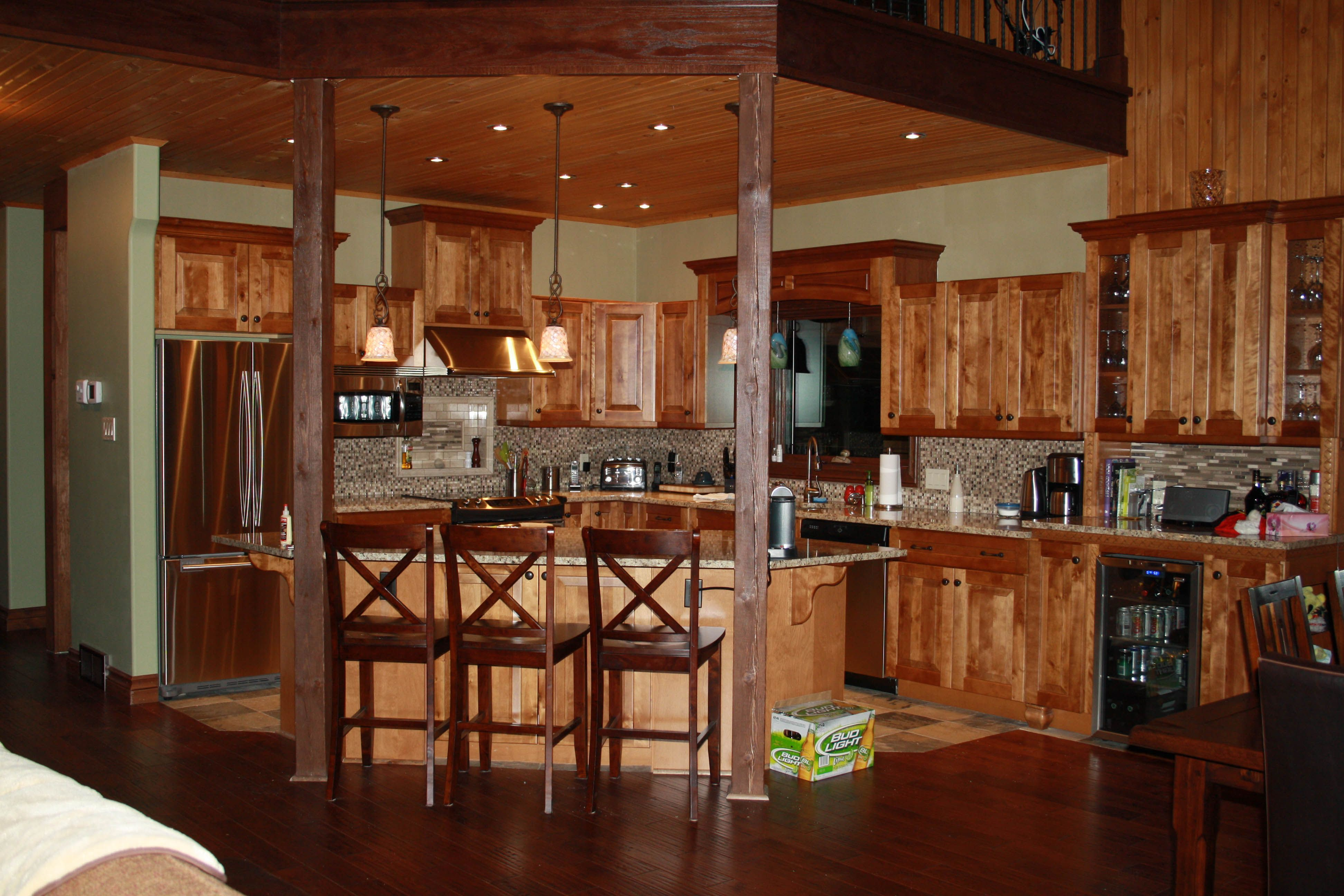 striking kitchen design finished in modern design of luxury log home plans interior design with wood dominated kitchen design idea - Log House Plans With Interior Photos